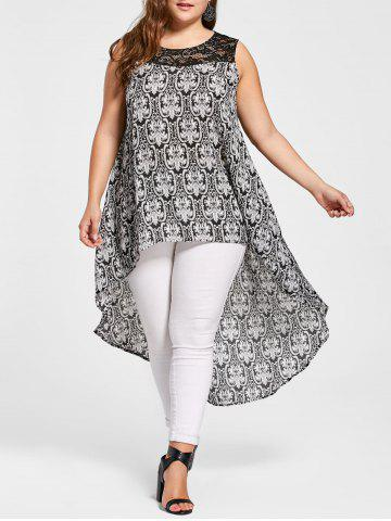 Tribal Print High Low Plus Size Tunic Top - Colormix - 5xl
