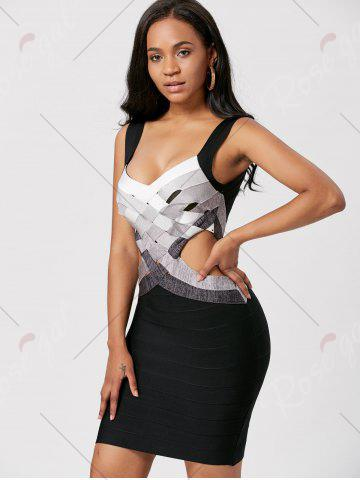 Buy Bodycon Waist Cut Out Bandage Cage Dress - S BLACK Mobile