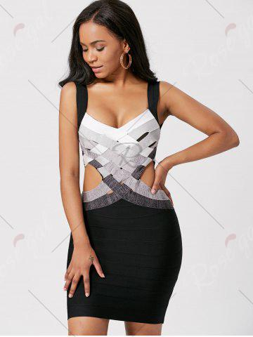 Trendy Bodycon Waist Cut Out Bandage Cage Dress - S BLACK Mobile