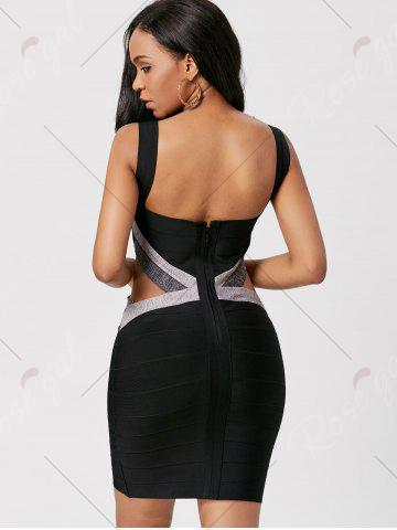 Outfits Bodycon Waist Cut Out Bandage Cage Dress - M BLACK Mobile