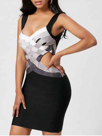 Best Bodycon Waist Cut Out Bandage Cage Dress - L BLACK Mobile
