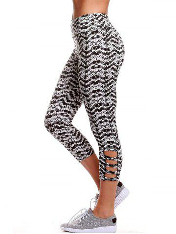 Sale Fitted Criss Cross Cropped Yoga Leggings - XL BLACK WHITE Mobile