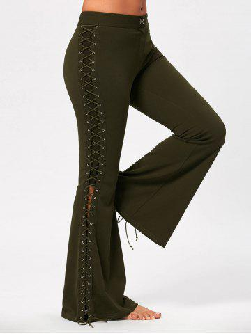 Fashion Criss Cross Lace Up Side Flare Pants