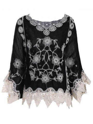 Batwing Sleeve Plus Size Crochet V-neck Top - Black - One Size