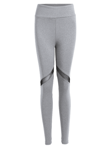 Shops Heart Pattern Mesh Panel Workout Leggings - S GRAY Mobile