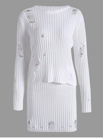 Ripped Ribbed Knitwear and Knit Pencil Skirt - White - S