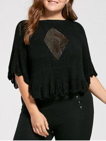 Feather Pattern Scalloped Plus Size Poncho Sweater - Black - One Size