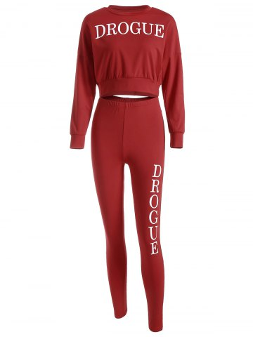 Drogue Print Crop Sweatshirt and Skinny Pants Rouge S