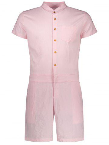 New Single Breasted Short Sleeve Romper PINK XL