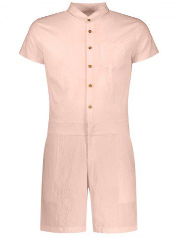 Shops Single Breasted Short Sleeve Romper APRICOT 2XL