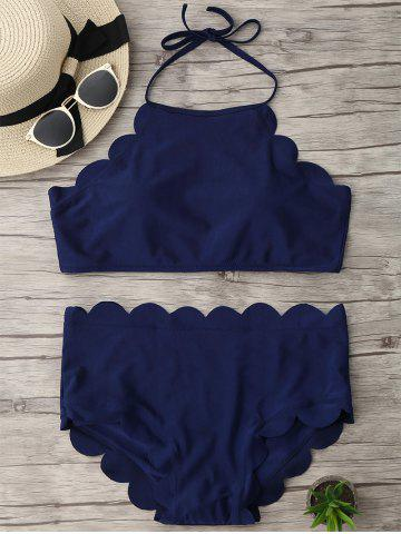 Discount Halter High Waisted Scalloped Bikini Set DEEP BLUE L