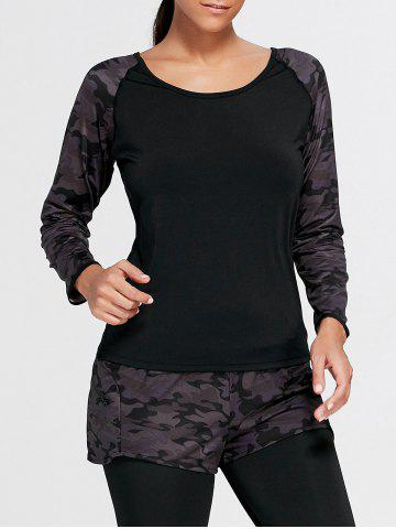 Outfit Camouflage Raglan Long Sleeve Sports T-shirt - S BLACK Mobile