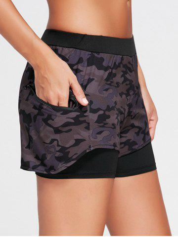 Shop Camo Zip Pocket Two Layered Sports Shorts - S BLACK Mobile
