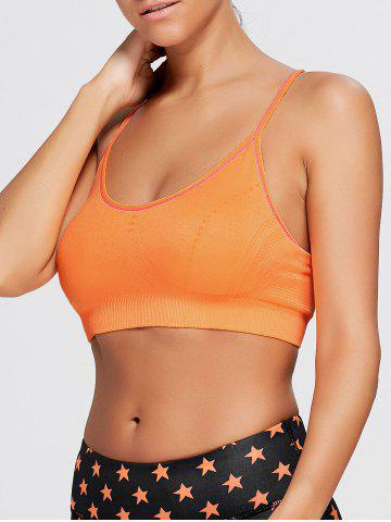 New Adjustable Padded Sports Longline Racerback Bra - BURNT ORANGE M Mobile