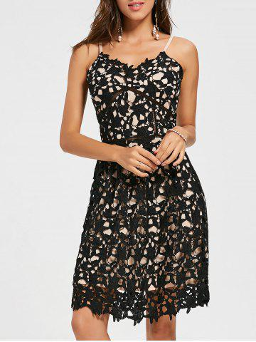 Trendy Crochet Cami Lace Mini Club Cocktail Dress BLACK S