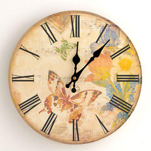Shops Flower Butterfly Wood Round Analog Wall Clock