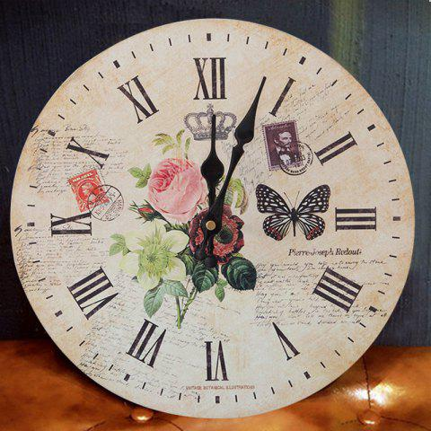 Sale Flower Butterfly Wood Round Analog Wall Clock - WOOD COLOR 50*50CM Mobile