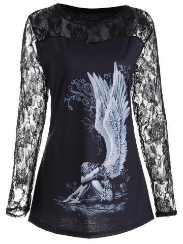 Affordable Lace Panel Angel Print Plus Size Top