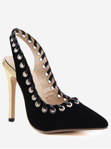 Sale Pointed Toe Grommet Slingback Stiletto Heel Pumps