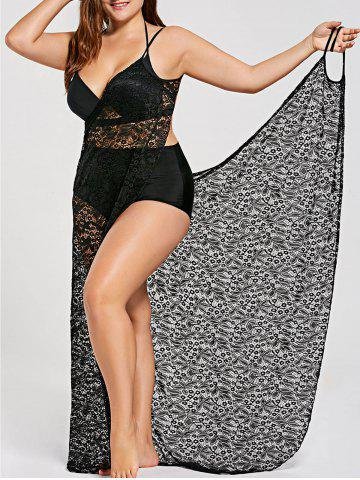 09ecc9c3379 Lace Plus Size Wrap Cover Up Dress - BLACK