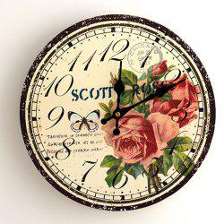 Flower Butterfly Wood Round Analog Wall Clock - YELLOW