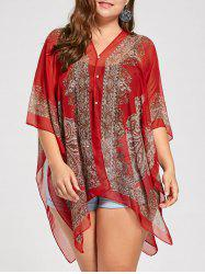 Beaded Plus Size Printed Chiffon Poncho Top