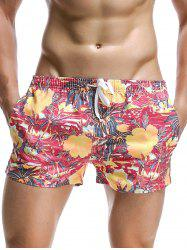 Florals and Coconut Tree Print Hawaiian Drawstring Board Shorts