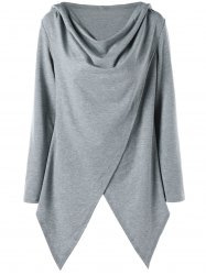 Asymmetrical Surplice Tunic Pullover Hoodie