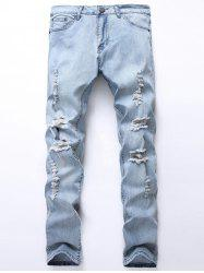 Straight Leg Bleached Ripped Jeans