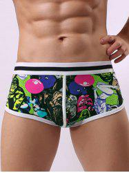 Cartoon Graphic Pouch Color Block Trunk - GREEN S