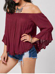 Smocked Bell Sleeve Off The Shoulder Blouse