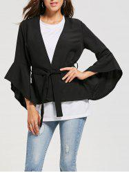 Bell Sleeve Wrap Belted Blouse