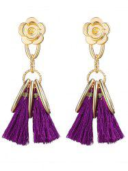 Vintage Alloy Circle Flower Tassel Earrings