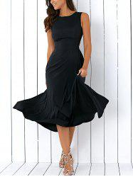 A Line Sleeveless Semi Formal Prom Dress - BLACK