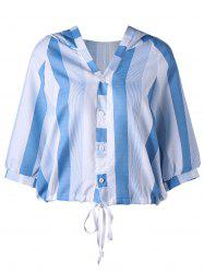 Button Up Hooded Striped Blouse
