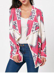 Stylish Turn-Down Collar Long Sleeve Geometric Print Women's Cardigan