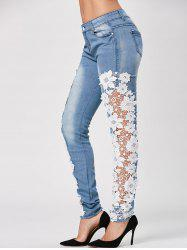 Bleach Wash Lace Trim Skinny Jeans - BLUE