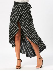 Stripe Print High Low Maxi Wrap jupe - Noir XL