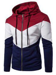 Color Block Panel Fleece Zip Up Hoodie