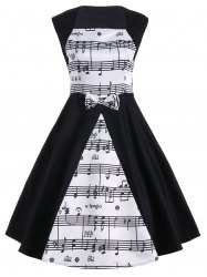 Musical Notes Print Sleeveless Vintage Dress - WHITE AND BLACK