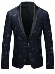 One Button Shawl Collar Swallow Print Blazer