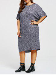 Batwing Sleeve Plus Size Knitted Dress