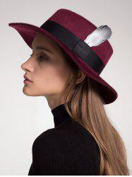 Ribbon Feather Embellished Wool Blended Hat