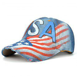 USA Flag Pattern Broken Hole Embellished Baseball Hat
