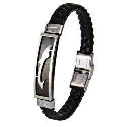Stainless Steel Faux Leather Braid Bracelet