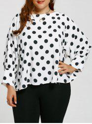 Polka Dot Cuff Sleeve Plus Size Blouse