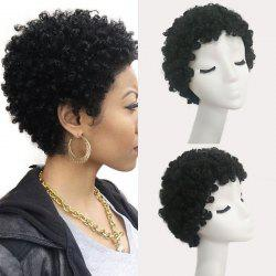 Short Curly Human Real Hair Wig - JET BLACK #01