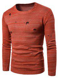 Knit Blends Long Sleeve Distressed Sweater