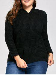 Plus Size Long High Low Chunky Sweater with Hooded