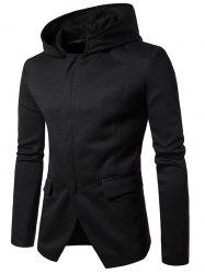Shoulder Pad Hooded Zip Up Cover Placket Coat - BLACK